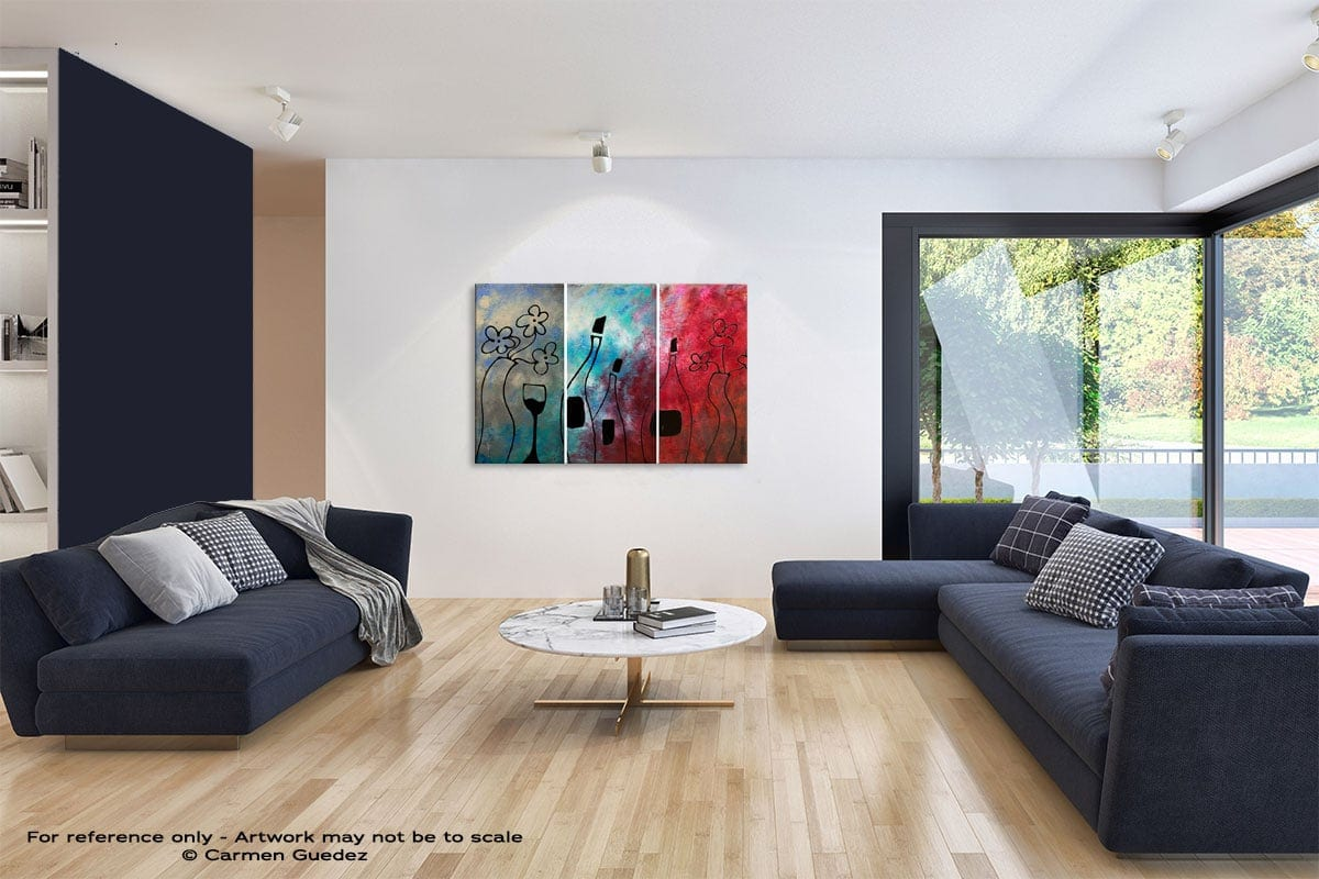 Vin Rouge Abstract Art Blue Interior Home Id59