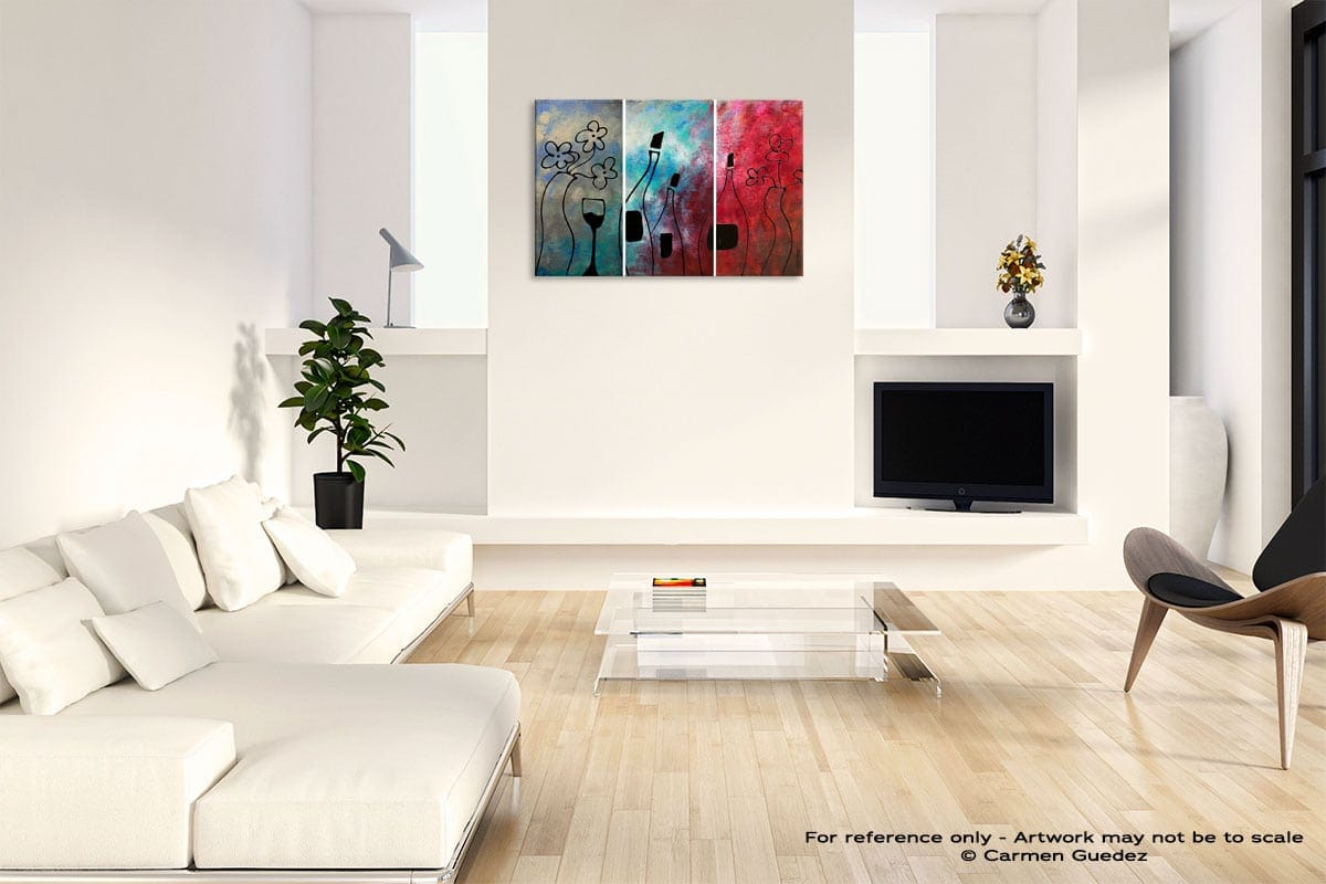 Vin Rouge Abstract Art Painting Interior Living Room Design Id60