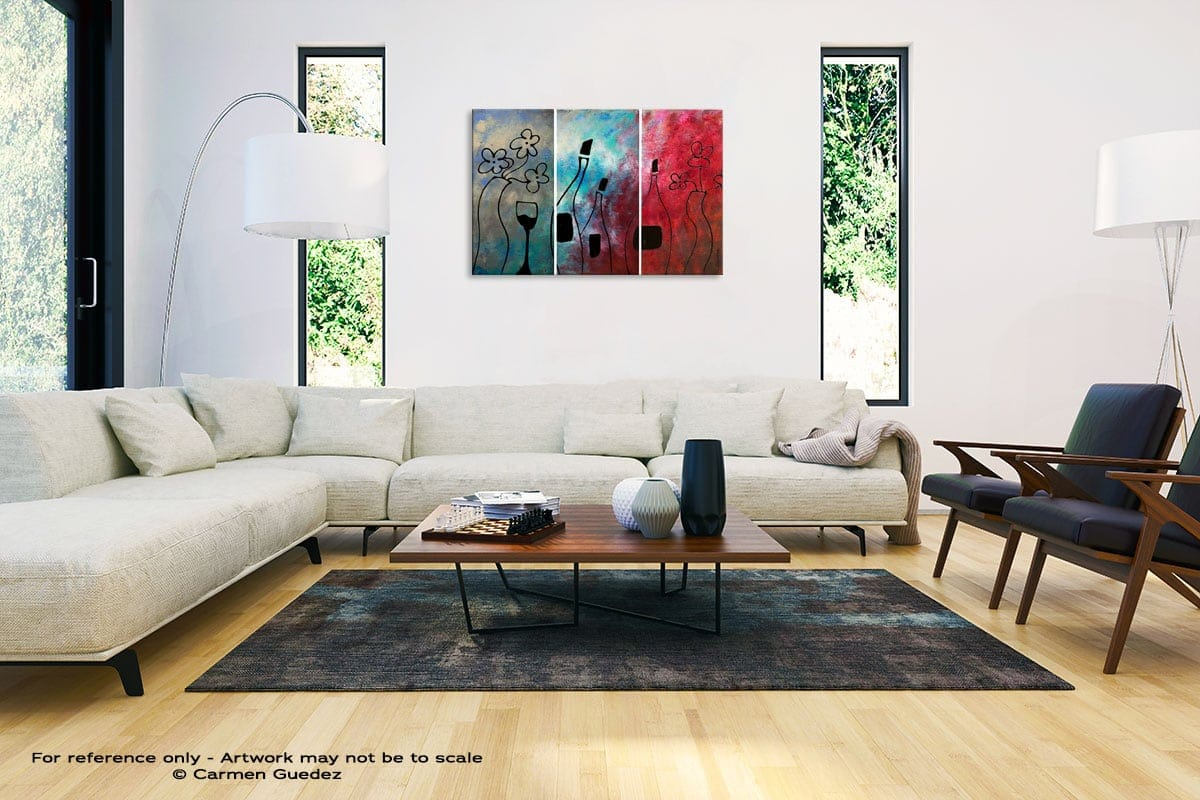Vin Rouge Abstract Painting Interior Decor Art Id61