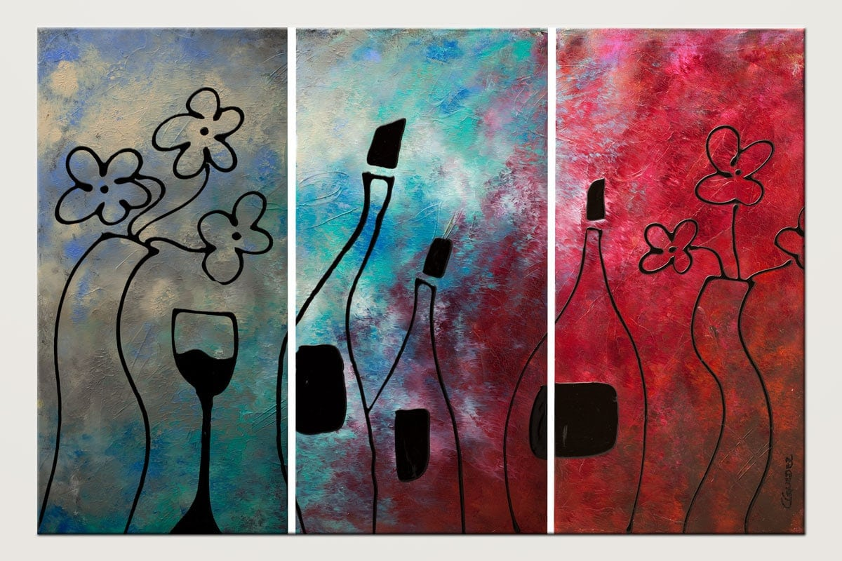 Vin Rouge - Abstract Art Painting Image by Carmen Guedez