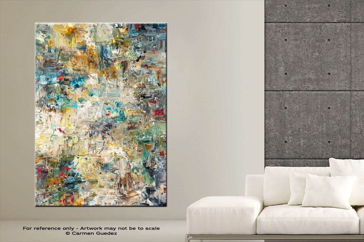 Water Lilies Vertical Abstract Art Painting Large Id76