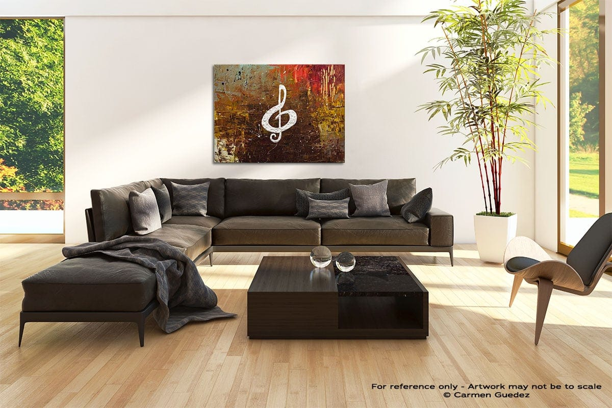 White Clef Abstract Painting Modern Home Id69