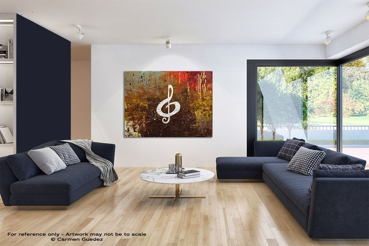 White Clef Modern Blue Abstract Painting Home Id50