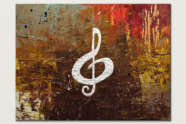White Clef Modern Music Abstract Art Painting Id80
