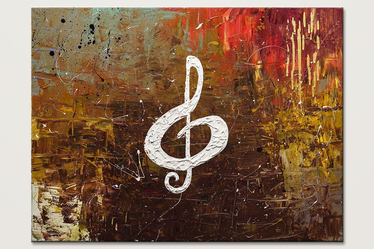 White Clef - Abstract Art Painting Image by Carmen Guedez