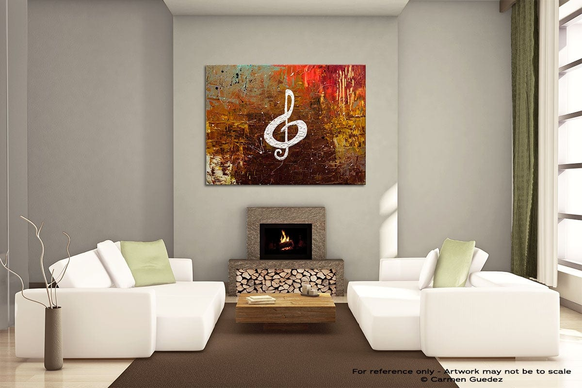 White Clef Painting On Canvas Large Living Room Id52