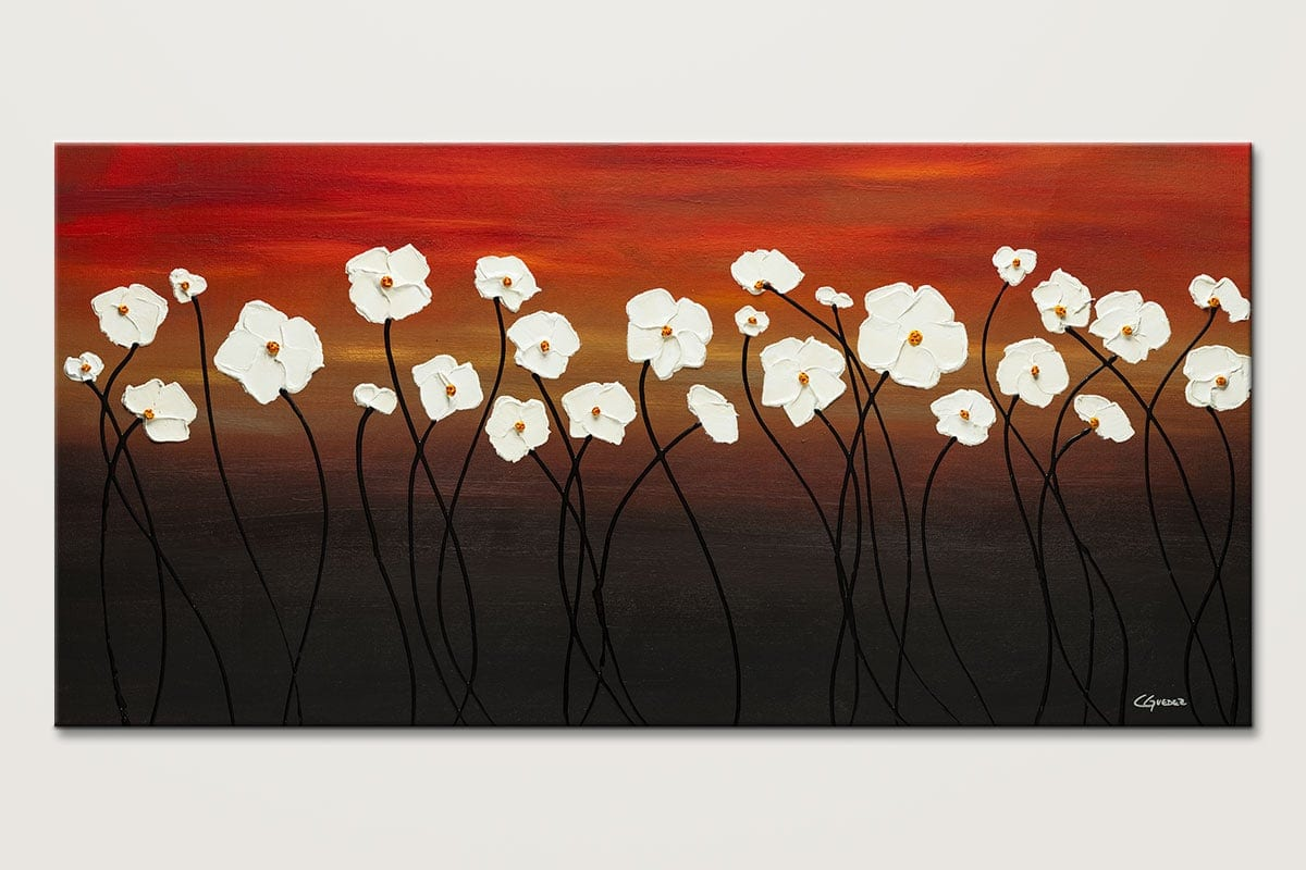White Dreams Red Sunset Flowers Abstract Art Painting Id80