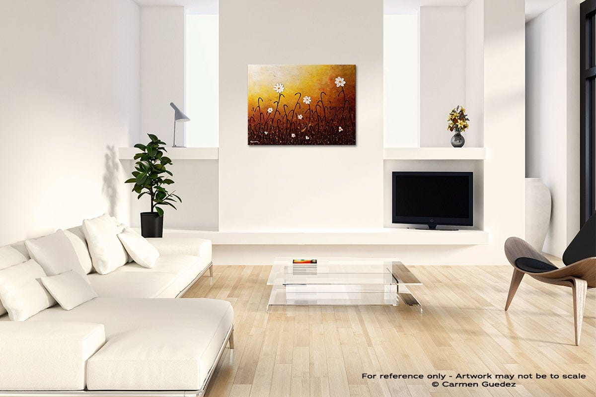 White Flowers Acrylic Abstract Art Black And White Room Id63