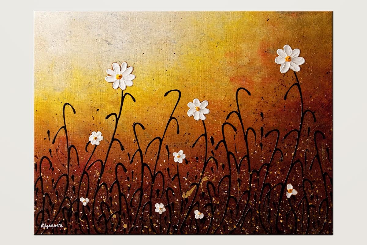 White Flowers Flowers Abstract Art Painting Id80