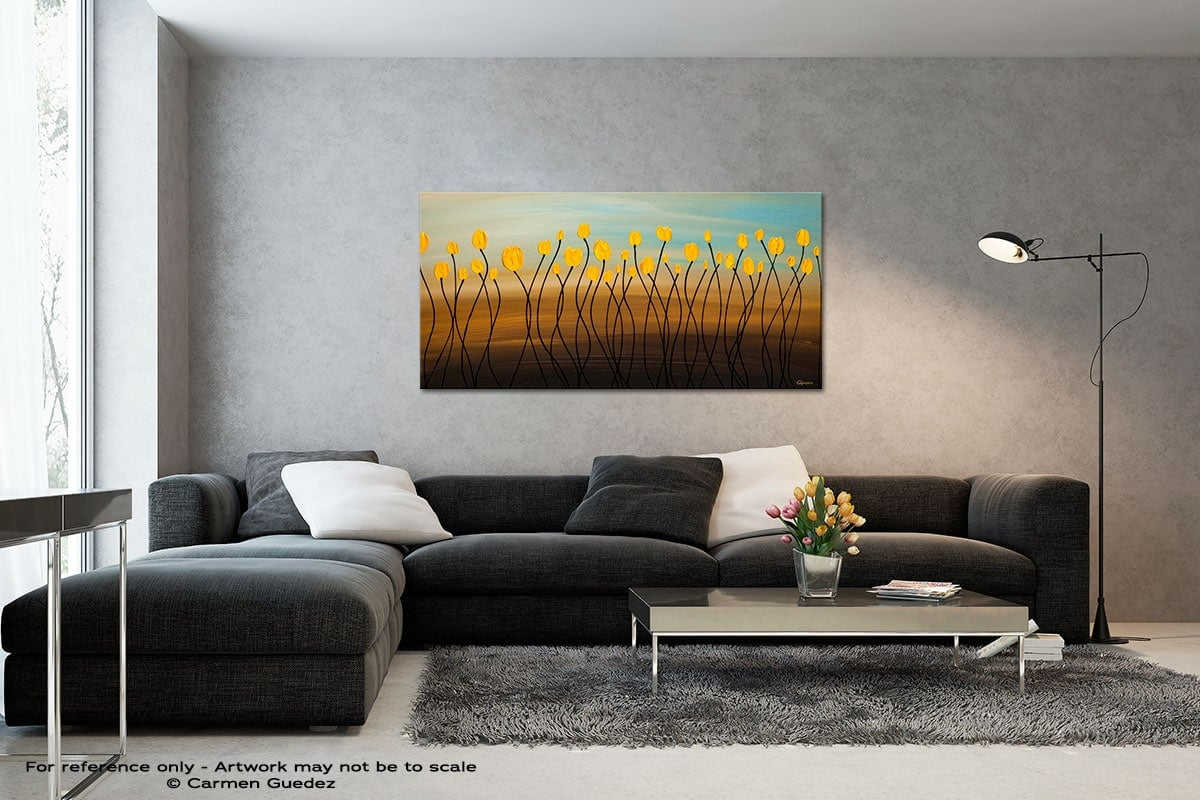 Yellow Tulips Black And White Wall Abstract Art Painting Id70