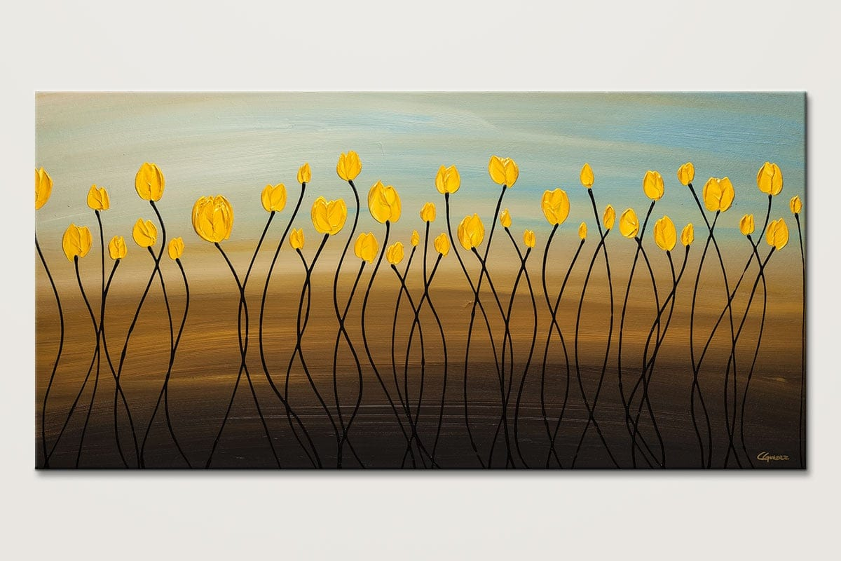 Yellow Tulips Large Abstract Art Painting On Canvas Id80