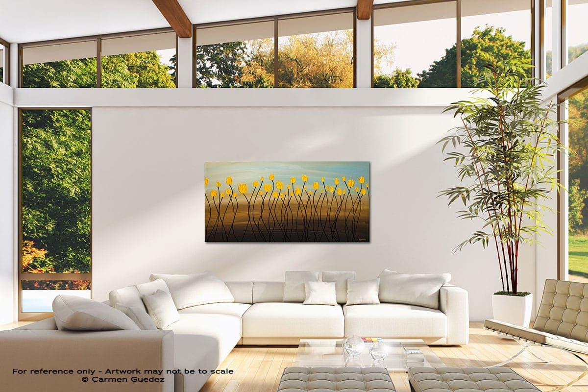 Yellow Tulips Modern Canvas Abstract Art Id38